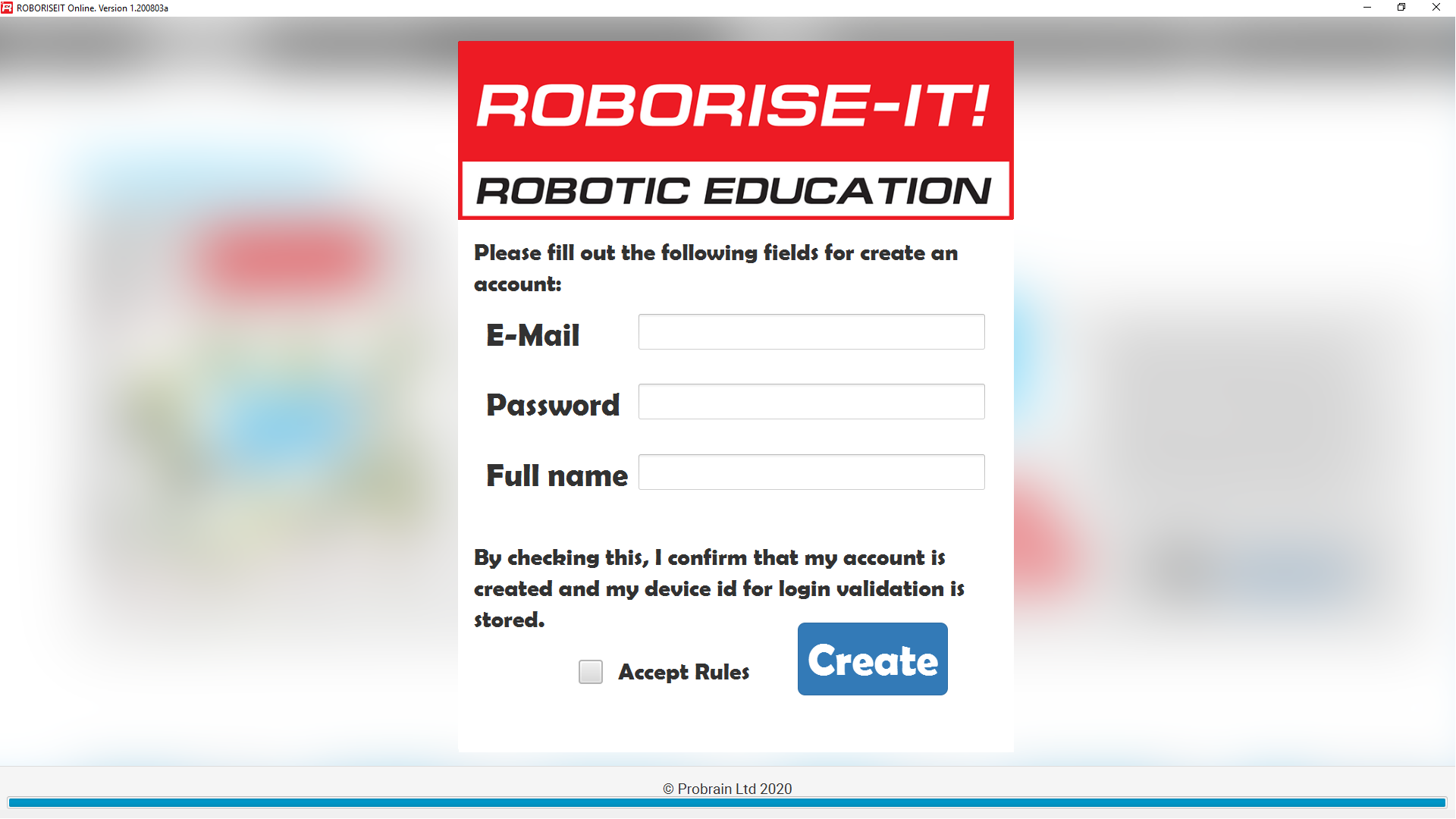 RoboriseitOnline Account Creation screen